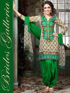 Light Beige Cotton Satin Salwar Kameez