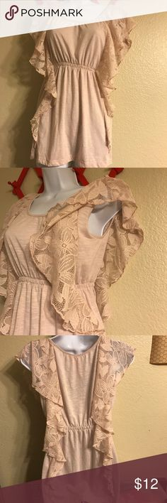 Pink lace ruffle panel top Fresh brewed pink cotton stretch blouse with double ruffle lace panel accent top. Size small in excellent used condition! fresh brewed Tops Blouses