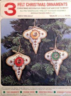 Vintage Felt Originals Christmas Tree Ornament Kit Sequin Baubles Mid Century #FeltOriginals