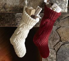 I like these cunky stockings for Santa to fill. They look like they will keep the goodies cozy! #HolidayDecor