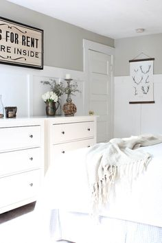 Master Bedroom Refresh - Rooms For Rent blog-Paint Color – Hazy Skies by Benjamin Moore