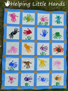 animal handprint quilt, ask all friends and family to make a square and create a quilt for the baby