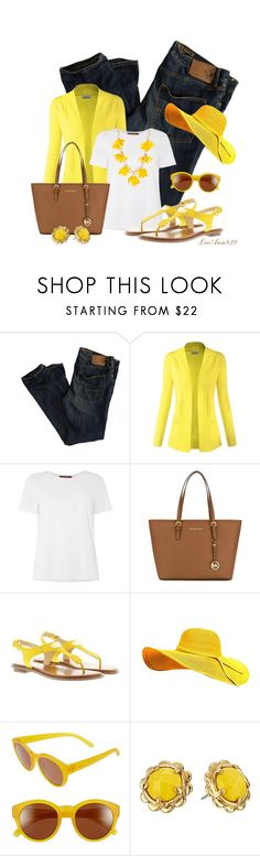 """Jeans sandals for spring contest"" by leeann829 ❤ liked on Polyvore featuring American Eagle Outfitters, MaxMara, MICHAEL Michael Kors, Michael Kors, Zeal Optics, Kate Spade and New Directions"