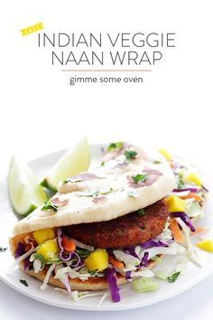 Easy Indian Veggie Naan Wrap -- absolutely delicious, and ready to go in about 10 minutes! | gimmesomeoven.com