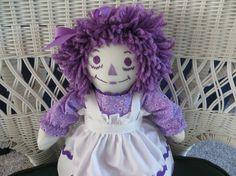 Mini Raggedy Ann Lilac Print Dress 15 inches by LucyKRagdolls