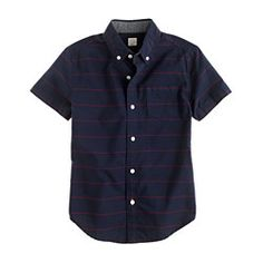 Boys' secret wash short-sleeve shirt in horizontal stripe