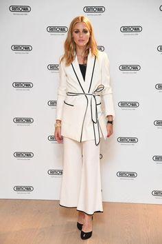 Olivia Palermo wearing Diane von Furstenberg Lucette Heels, Zara Belted Blazer and Zara Cropped Bell Bottom Trousers