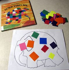 Elmer the Elephant book and craft for the letter E