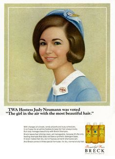 """A Breck shampoo advertisement illustrated by Ralph William Williams and featuring Judy Neumann as """"The girl in the air with the most beautiful hair"""" in Teen magazine (February 1967)"""