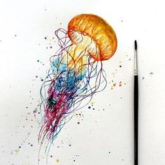 "Gefällt 2,691 Mal, 28 Kommentare - Instagram Art Featuring Page (@justartsogram) auf Instagram: ""Jellyfish by @ninarting  Follow @artsogram for more cool art! """