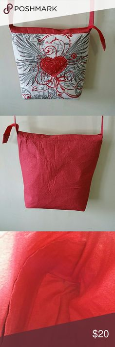 MY VALENTINE BAG. MY LITTLE RED VALENTINE BAG,12 INCHES DEEP, 131/2INCHES WIDE, SHOLDER HANDLE 19INCHES DROP, 3 SLIP POCKETS INSIDE. HANDMADE Bags Shoulder Bags