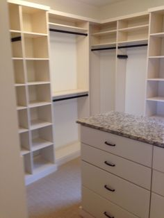 Closet Creations built this White Closet with Island and drawers Closet Island, White Closet, Drawers, Diy, Home Decor, White Cabinet, Decoration Home, Bricolage, Room Decor