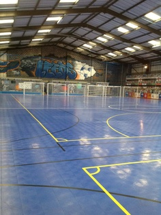 Client: Futsal Leeds   Tradition Graffiti for Indoor Football Arena over 8 meters high   Graffiti Lettering and design Leeds