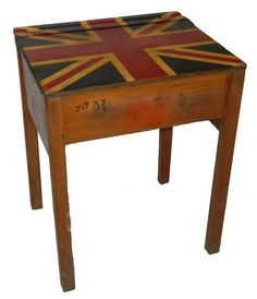 Love, love, love this school desk! I don't know if the Union Jack is original to the desk or not, but who cares?!? It is still a whole bunch of wonderful.