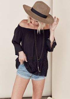 Stitch fix spring summer 2016. Cut off shorts, off the shoulder eyelet top, fedora. Casual summer style.