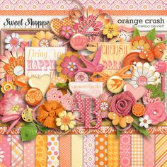 Digital Scrapbook Kit, Orange Crush by Melissa Bennett Zoo Pictures, Orange Crush, Scrapbook Designs, Scrapbook Cards, Digital Scrapbooking, Party Themes, Hot Pink, Make It Yourself, My Favorite Things