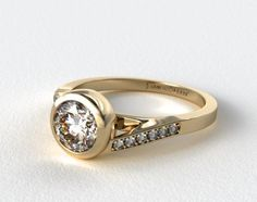 Contemporary tension set Wedding Rings for Women | 18K Yellow Gold Pave Bypass Bezel Set Diamond Engagement Ring | 17964Y