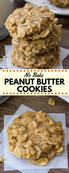 Peanut butter no bake cookies are filled with peanut butter and oatmeal for the perfect salty, sweet snack. They're insanely easy to make, only 6 ingredients, and completely addictive.