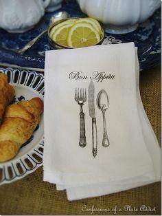No sew tea towel/napkin with flour sack towels and Graphics Fairy printable