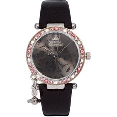 Vivienne Westwood Orb In Black With Diamante Detail Watch ($210) ❤ liked on Polyvore featuring jewelry, watches, black, leather-strap watches, vivienne westwood watches, bezel jewelry, bezel watches and vivienne westwood jewellery