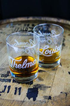 Celebrate the girl that pushes you to do unbelievable and outrageous things with these hand etched matching Thelma and Louise whiskey glasses. These custom glasses are deep engraved to make a sophisticated gift and provide a generous 13.5 ounces to hold the nectar of your choice.   Each order contains two engraved glasses shipped in separate boxes. #bourbonandboots