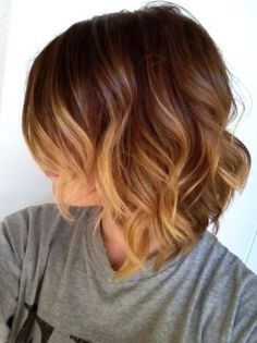 Short bob, brown to golden ombré hair colour