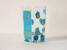 Rx Shot Glass, hand painted,bright blue and gold,gold swirls,prescription shot glass,po tid prn,nurse gift,doctor gift,painted glass by HazelMartinDesigns on Etsy