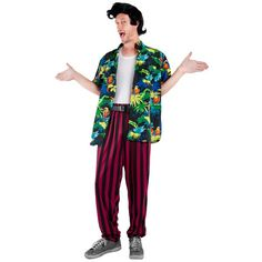 When nature calls and your pet goes missing, who else would you call if not the Pet Detective? This costume features a character Hawaiian shirt, black and red stripped pants. For a fun group idea chec