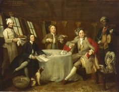 Captain Lord George Graham, 1715-47, in his Cabin. Probably shows the subject in the cabin of his new command, the 66-gun HMS Nottingham. Graham is seen seated, in full length view, to the right of the table, smoking a long handled pipe. His clerk and chaplain sing, to music played by a black servant boy on a drum and fife.