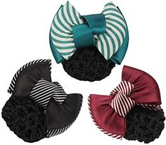 LiveZone Pack of 3 Pcs Women Professional Hair Bun Cover Net Snood Hairnet Bowknot Decor Barrette Hair Clip Bow Lace Flower Hair Accessories 3 ColorsGreen Red  Black ** See this great product.(This is an Amazon affiliate link and I receive a commission for the sales)
