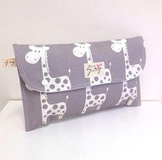 Diaper Clutch Nappy Bag Wallet  White Giraffes by handmadebymegs