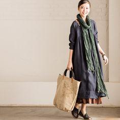 Korean Style Loose Tall Waist Cotton Linen Dresses Women Clothes Q978AG