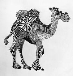 Camel zentangle * Coloring pages colouring adult detailed advanced printable Kleuren voor volwassenen coloriage pour adulte anti-stress kleurplaat voor volwassenen Line Art Black and White