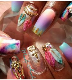 Indian tribal dream catcher ombré blue purple pink Cherokee coffin nails design nail art Swarovski crystal