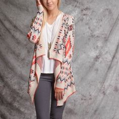 Ethnic print open cardigan Ethnic print multi colors open cardigan Ya Los Angeles Sweaters Cardigans