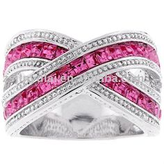 Kate Bissett Silvertone Criss-cross Pink Cubic Zirconia Ring - Overstock™ Shopping - Big Discounts on Kate Bissett Cubic Zirconia Rings Ribbon Jewelry, Pink Jewelry, Jewlery, Jewelry Rings, Silver Jewelry, Criss Cross, Cubic Zirconia Rings, Pink Ring, Queen