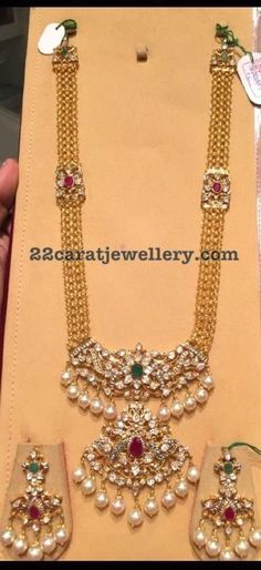 antique finish long chain with patakam pendant in kundan and pachi work with suitable earrings
