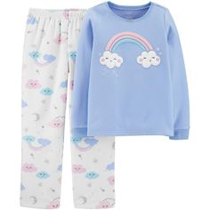Your little lady will love either of these super snug, cute pajama sets from Carter's. Cute Pajama Sets, Cute Pjs, Cute Pajamas, Cotton Pjs, Cotton Fleece, Trajes Kylie Jenner, Rainbow Outfit, Rainbow Clothes, Cute Sleepwear