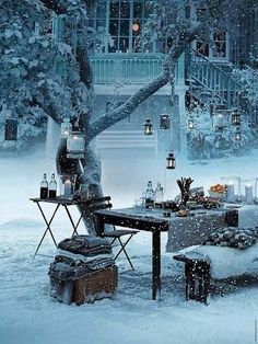 What a beautiful winter picnic to have prior to relaxing in your hot tub!