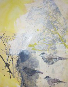 BIRDS little painting mixed media Helena Sellergren