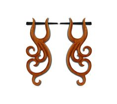 Pin earrings- Wooden Earring- Post earrings- Spiral wooden- Stick Gauge earrings- Split gauge