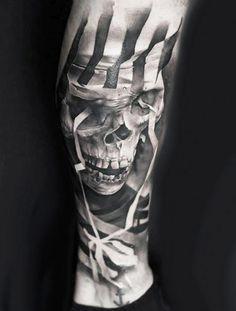 Realistic Skull Tattoo by Neon Judas | Tattoo No. 12043