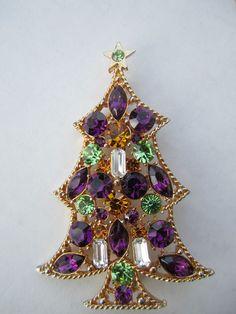 Large Vintage Rare PURPLE Green Eisenberg ICE Rhinestone Christmas Tree Candle Brooch.