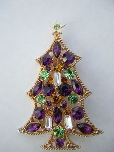 Large Vintage Rare PURPLE Green Eisenberg ICE Rhinestone Christmas Tree Candle Brooch.