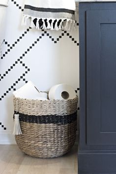 Favorites: Ombre Storage Baskets black and neutral Target Threshold woven basket for toilet paper storageblack and neutral Target Threshold woven basket for toilet paper storage Target Bathroom, Diy Bathroom, Small Bathroom Storage, Wedding Bathroom, Bathroom Ideas, Neutral Bathroom, Bathroom Closet, Simple Bathroom, Bathroom Cabinets