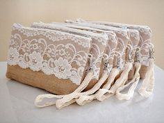 set of 6 burlap clutches with wristlet strap and large floral lace Bridesmaids gift