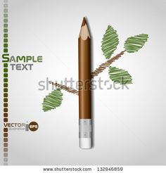 Wooden pencil with leaf. Vector illustration. Eps 10. - stock vector