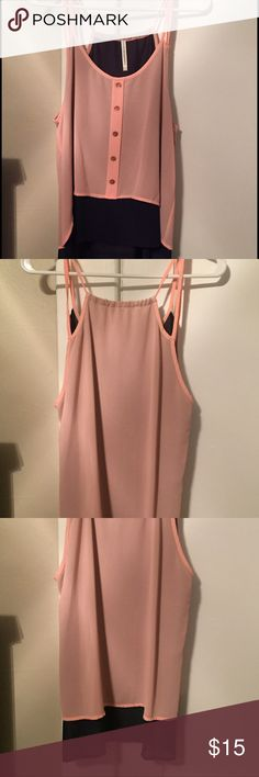NWOT! Blush and navy tank top! NWOT! Blush and navy high low tank top! Tops Tank Tops