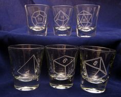 Best Game Night Ever!  Polyhedral Dice Etched Shot Glasses. $48.00, via Etsy.