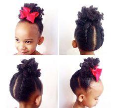 Coiffure afro enfant noeud rose cheveux